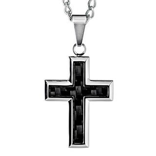 Stainless Steel Black Carbon Fiber Inlay Cross Necklace