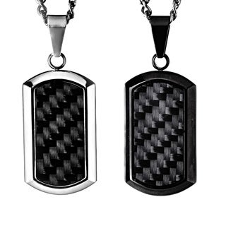 Black-plated Steel Men's Black Carbon Fiber Inlay Dog Tag Necklace