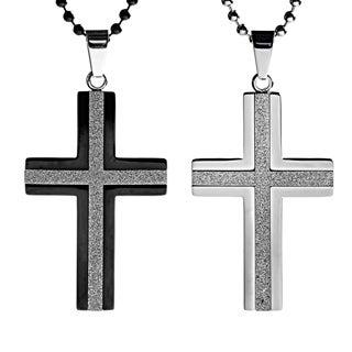 Stainless Steel Men's Crucible Sandblasted Center Cross Necklace