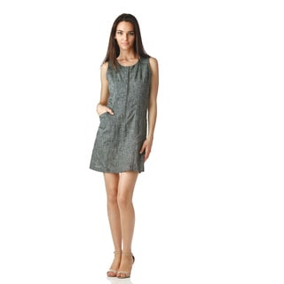 Stanzino Women's Sleeveless Tweed Print Shift Dress