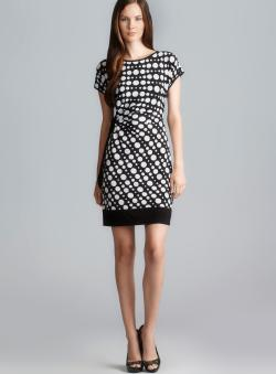 Donna Morgan Side Tie Dot Printed Dress