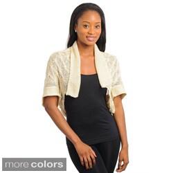 Stanzino Women's Cropped Short Sleeve Knit Bolero