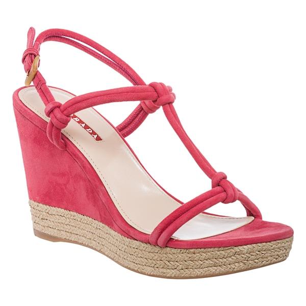 prada saffiano zip-around continental wallet - Prada Women's Pink Suede Knotted Wedge Sandals (Size 10 ...