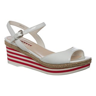 Prada Women's Striped Patent Leather Wedge Sandals