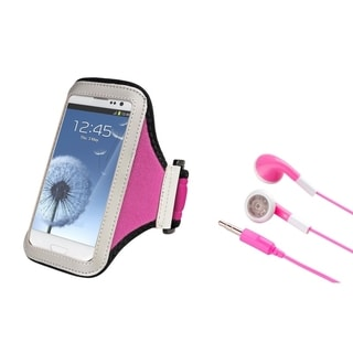 BasAcc Armband Case/ Pink Stereo Headset for Samsung Galaxy S4/ S3