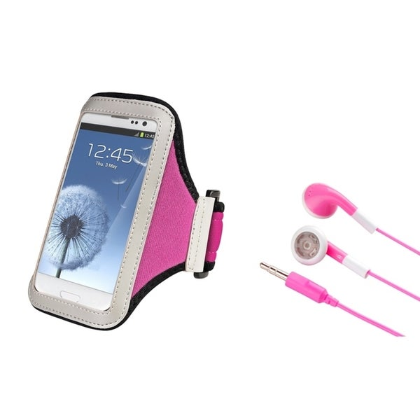 INSTEN Armband Phone Case Cover/ Pink Stereo Headset for Samsung Galaxy S4/ S3