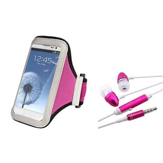 BasAcc Armband Case/ Pink Headset with Mic for Samsung Galaxy S4/ S3