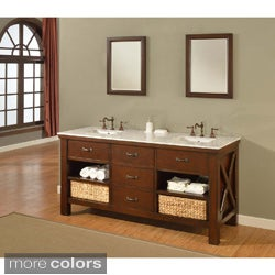 Direct Vanity 70-inch Espresso Extraordinary Spa Double Vanity Sink Cabinet