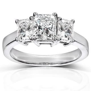 Annello 14k White Gold Certified 2 1/5 ct TDW Diamond Three Stone Ring (G-H, I1)