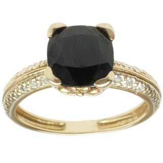 Michael Valitutti 14k Yellow or White Gold Black Spinel and Diamond Ring