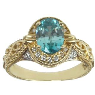 Michael Valitutti 14k Yellow Gold Blue Prong-set Zircon and Diamond Ring