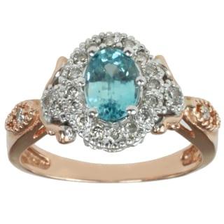 Michael Valitutti 14K Two-tone Gold Round-cut Blue Zircon and Diamond Ring