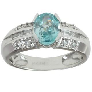 Michael Valitutti 14K White Gold Blue Zircon and Channel-set Diamond Ring
