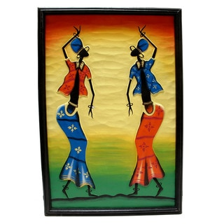 Twin Tribal Dancers Canvas Wall Art (Indonesia)