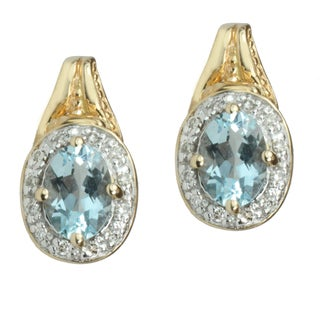 Michael Valitutti 14k Yellow Gold Aquamarine and Diamond Earrings