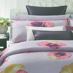EverRouge Purple Spring Floral 7-piece Cotton Duvet Set