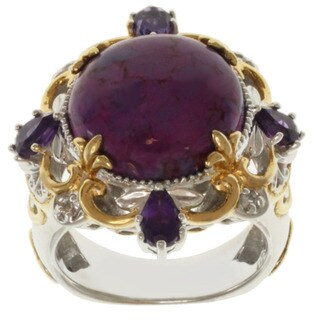 Michael Valitutti Two-tone Purple Turquoise, Amethyst and White Sapphire Ring