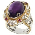 Michael Valitutti Two-tone Amethyst, Ruby and White Sapphire Ring