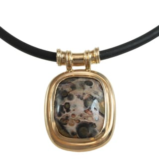 Michael Valitutti 14k Yellow Gold Lopard Jasper Men's Necklace