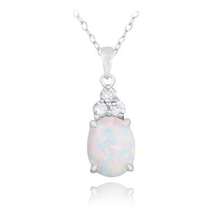 Glitzy Rocks Sterling Silver Created Opal and Cubic Zirconia Oval Necklace
