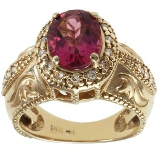Michael Valitutti 14k Yellow Gold Rubelite and Round Diamond Ring