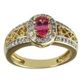 Michael Valitutti 18k Yellow Gold Pink Spinel and Diamond Ring