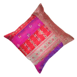 Saree Collection Patchwork Decorative Pillow (India)