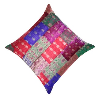 Saree Patchwork Zari Decorative Throw Pillow (India)