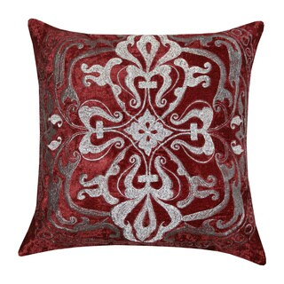 Burgundy Zari Velvet Medallion Throw Pillow (India)