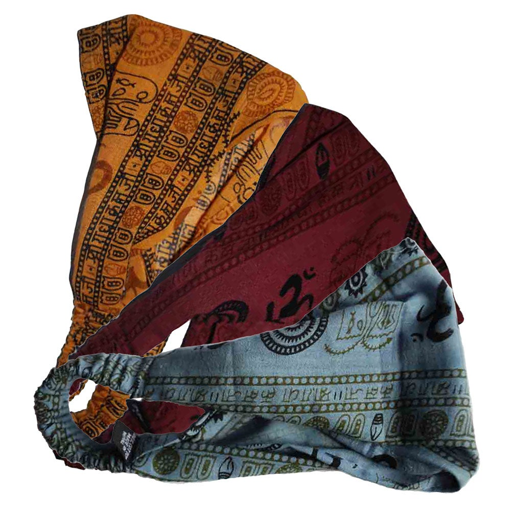 Peace and Om Cotton Yoga Headband (Nepal)