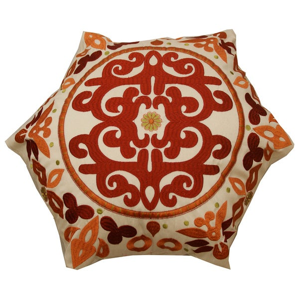 Hexagonal Embroidered Throw Pillow (India)