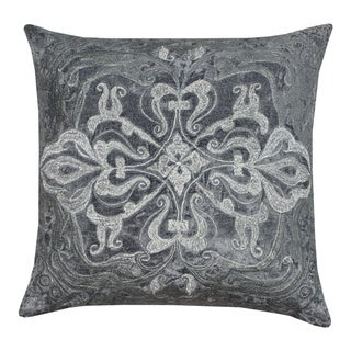 Zari Velvet Grey Medallion Pillow (India)