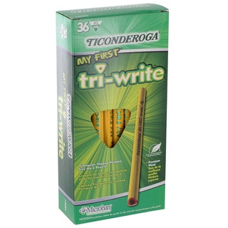 Dixon Ticonderoga My First Tri-Write Triangular Premium Woodcase Pencils #2 HB Yellow Barrels Pack of 36