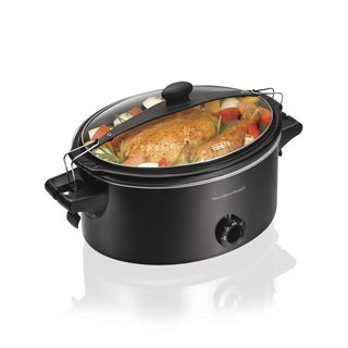 Hamilton Beach 33261 Stay or Go Black 6-quart Oval Slow Cooker with Lid Clips