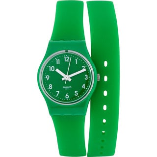 Swatch Women's Originals Green Rubber Quartz Watch