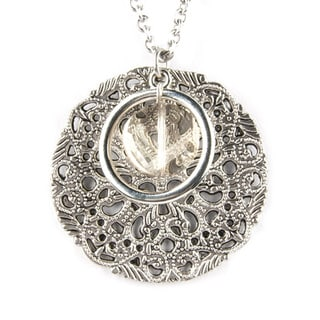 Circular Lattice and Beige Crystal Pendant Necklace (China)