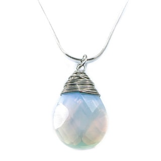 Moonstone Teardrop Necklace with Stainless Steel Chain (18-inch) (China)