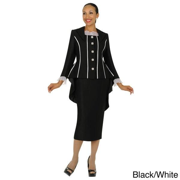 Divine Apparel Women's Tuxedo Jacket Skirt Suit