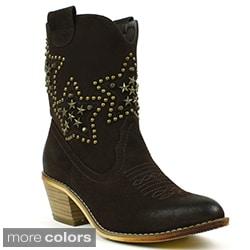 Fahrenheit Women's 'Deborah-01' Studded Star Cowboy Booties
