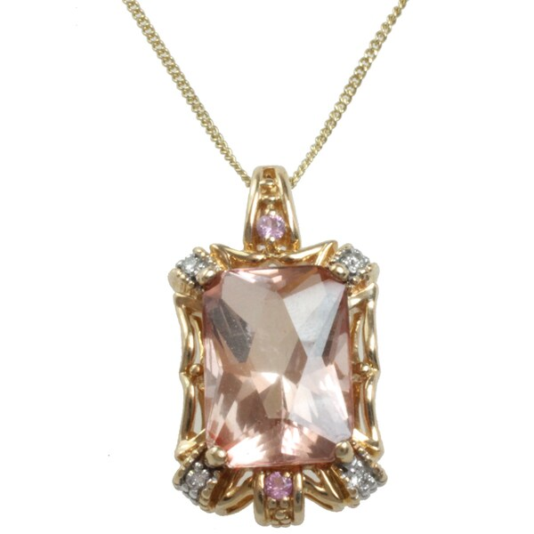 Michael Valitutti 14k Gold Pink Topaz, Pink Sapphire, Diamond Necklace