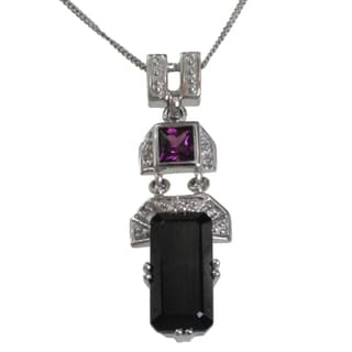 Michael Valitutti 14k Gold Black Spinel, Rhodolite and Diamond Necklace