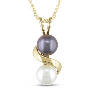 Miadora 14k Yellow Gold Black and White FW Pearl Necklace (5.5-6 mm)