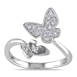 Miadora 10k White Gold 1/10ct TDW Diamond Butterfly Ring (H-I, I2-I3)