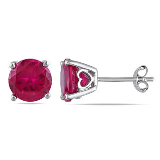 M by Miadora Sterling Silver Created Ruby Solitaire Stud Earrings