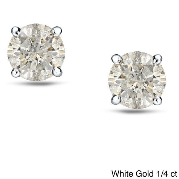 18k White/Yellow Gold Round Diamond Stud Earrings (J-K, I1-I2)