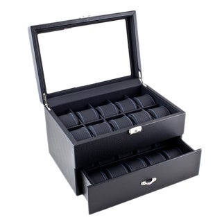 Caddy Bay Collection Black Carbon Fiber Pattern Blue Stitching Wooden Watch Box Display Case