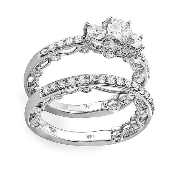 14k White Gold 1 5/8ct TDW Diamond Scalloped Bridal Ring Set (H-I, I1-I2)