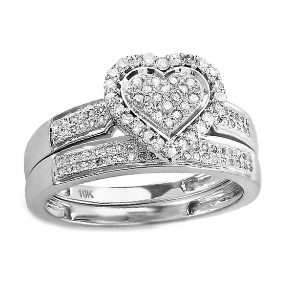 10k White Gold 3/8ct TDW Diamond Heart Bridal Ring Set (H-I, I1-I2)