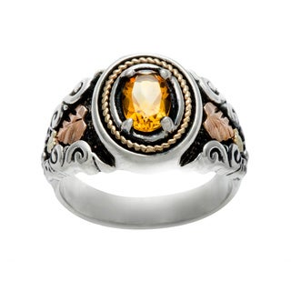 Black Hills Gold and Sterling Silver Citrine Ring
