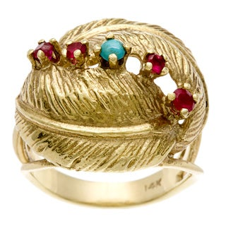 Pre-owned 14k Yellow Gold Ruby and Turquoise Palm Leaf Estate Ring